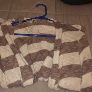 Calvin Klein Sweaters - white and brown striped sweater